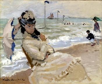 Monet - camille à la plage de trouville 1870 particulier.jpg