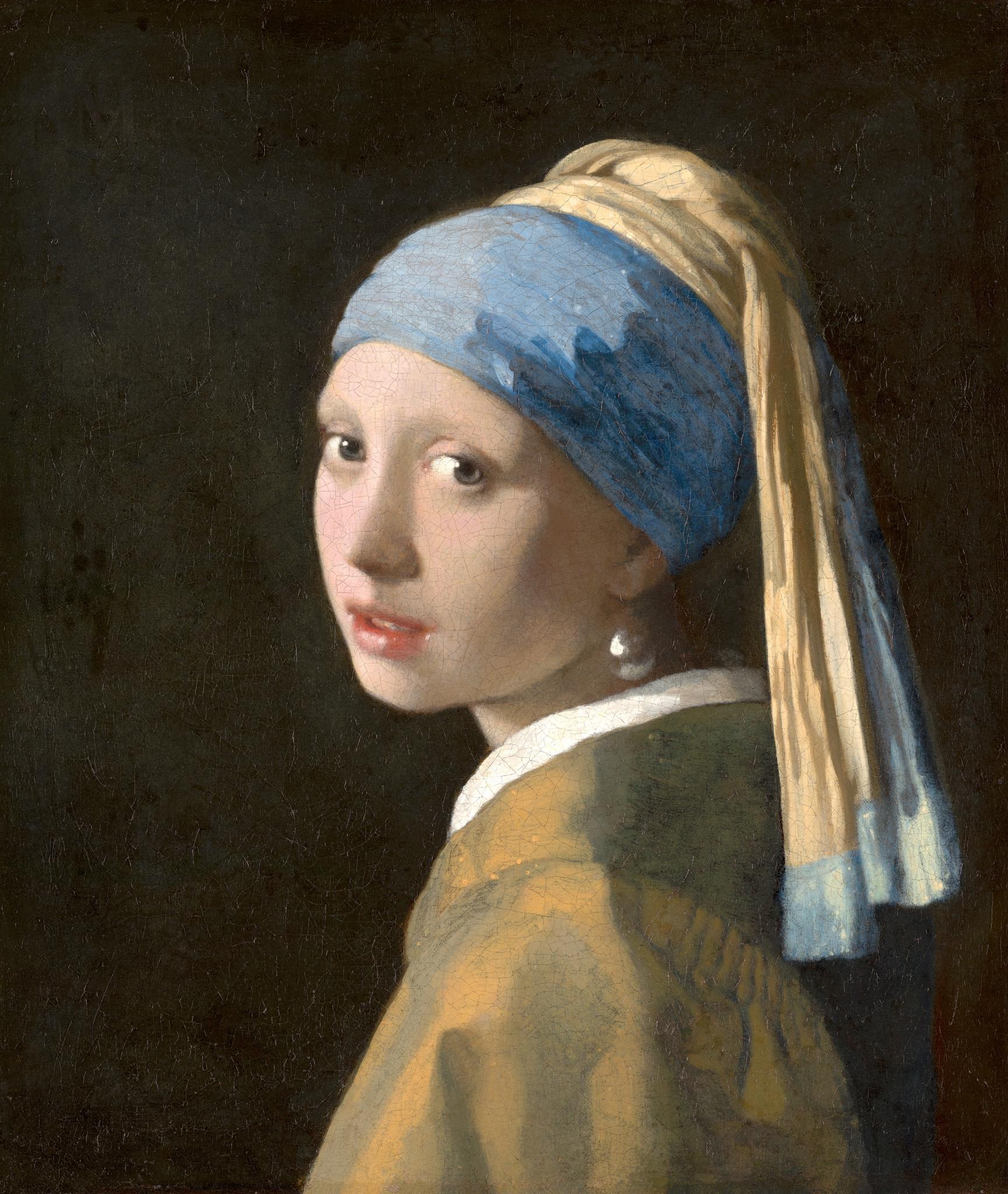 peinture, écriture, vermeer, mauritshuis, jeune fille à la perle