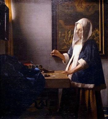 peinture,vermeer,delft, femme à la balance