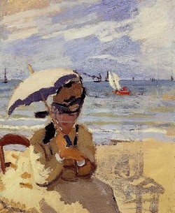 Monet - camille assise sur plage 1870 particulier.jpg