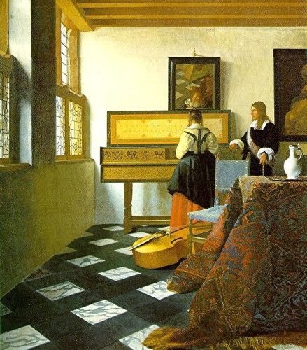 peinture,vermeer,lecçon de musique