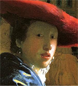 peinture,vermeer,jeune fille au chapeau rouge