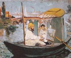 Manet - monet peignant dans son bateau-atelier 1874 neue pinakothek munich.JPEG