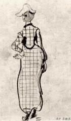 Van gogh - dame avec une robe à carreaux et un chapeau.jpg