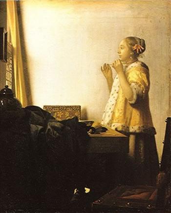 peinture,vermeer,delft, femme au collier de perles