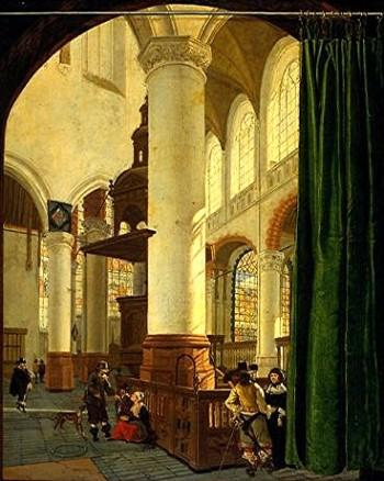 peinture,houckgeest,delft,oude kerk